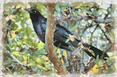 Blackbird Print by Lorri Crossno