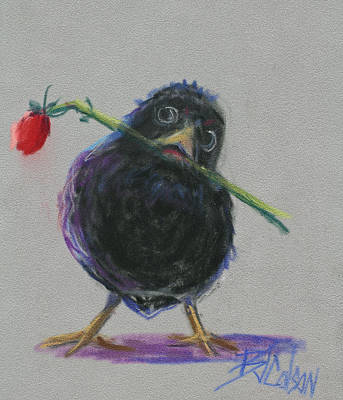 Crows Painting - Blackbird Love by Billie Colson