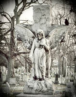 Ravens In Graveyard Photograph - Blackbird On Angel Cross by Gothicrow Images