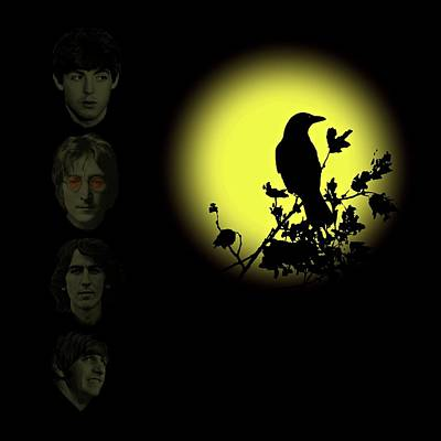 Blackbird Singing In The Dead Of Night Art Print by David Dehner