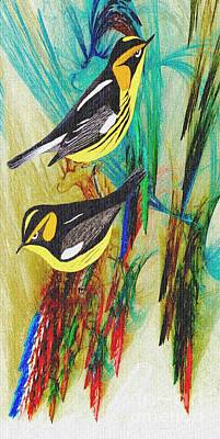 Warbler Mixed Media - Blackburnian Warblers by Madeline  Allen - SmudgeArt