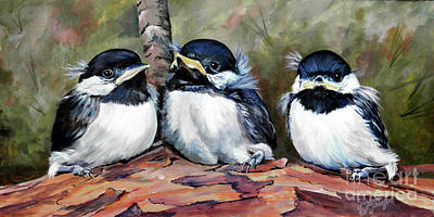 Blackcapped Chickadee Babies Art Print