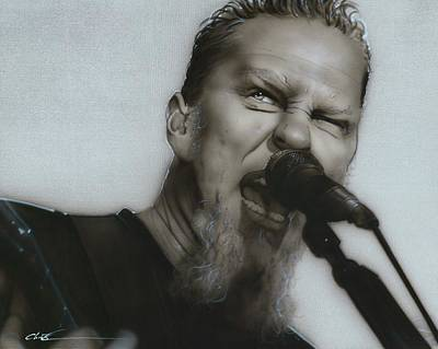 Microphone Painting - James Hetfield - ' Blackened ' by Christian Chapman Art