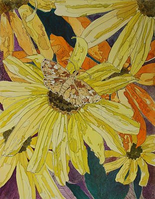 Blackeyed Susans And Butterfly Art Print by Terry Holliday