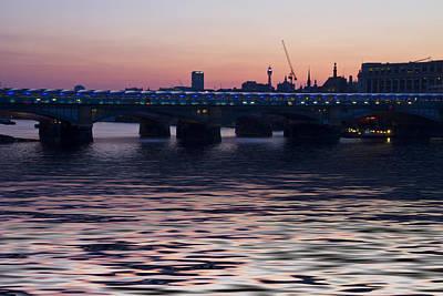 Blackfriars Bridge London Thames At Night Dusk Art Print by David French