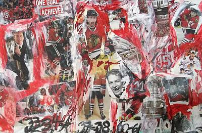 Hawk Mixed Media - Blackhawks Collage by John Sabey Jr