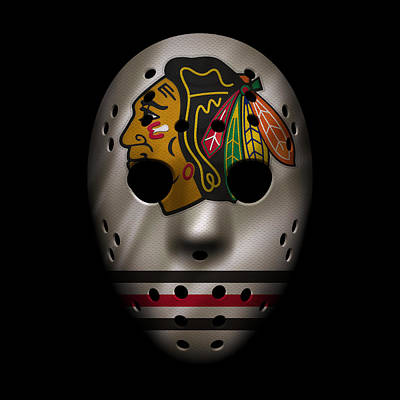 Stick Photograph - Blackhawks Jersey Mask by Joe Hamilton