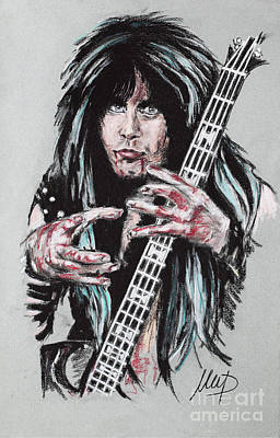 Bassist Drawing - Blackie Lawless by Melanie D