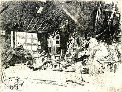 Drypoint Photograph - Blacksmith 1880 by Padre Art