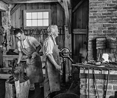 Blacksmith And Apprentice 2 Bw Art Print by Steve Harrington