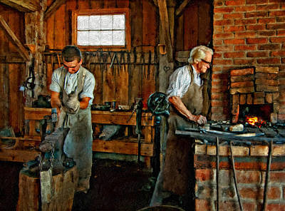 Antique Ironwork Photograph - Blacksmith And Apprentice Impasto by Steve Harrington