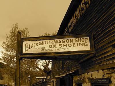 Blacksmith And Ox Shoeing Signage Art Print