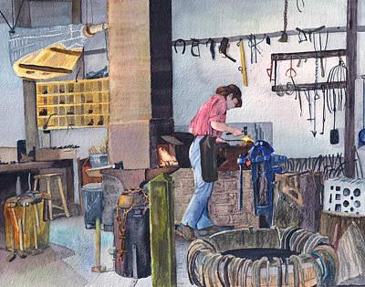 Cooperstown Painting - Blacksmith by Carol Burghart