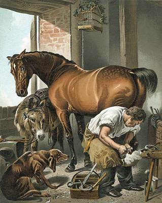Old Farm Drawing - Blacksmith by Sir Edwin Landseer
