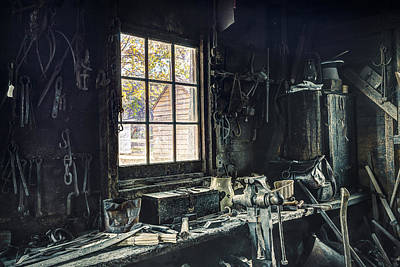 Photograph - Blacksmiths Workbench - One October Afternoon by Gary Heller