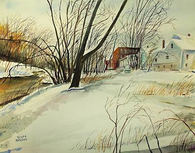 Millbury Painting - Blackstone River Snow  by Scott Nelson