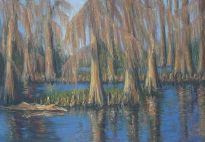 Painting - Blackwater Blue At Magnolia Gardens by Pamela Poole