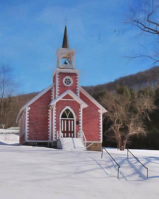 Snowy Digital Art - Blackwell Church by Lori Deiter