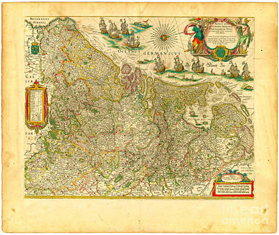 Old Map Painting - Blaeu Map Of The Low Countries In 1645 by Celestial Images