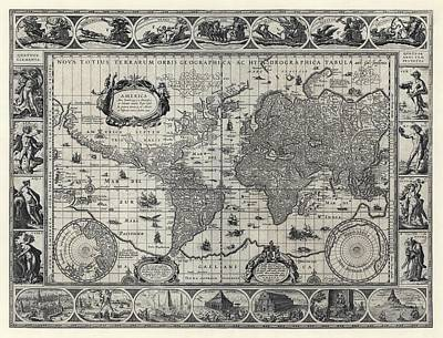 Artemis Wall Art - Photograph - Blaeu's World Map by Library Of Congress/science Photo Library