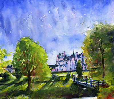 Painting - Blair Castle Bridge Scotland by John D Benson