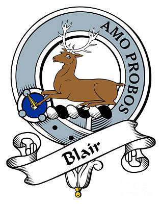 Genealogy Digital Art - Blair Clan Badge by Heraldry