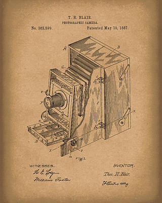Drawing - Blair Photographic Camera 1887 Patent Art Brown by Prior Art Design