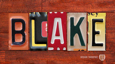 Mixed Media - Blake License Plate Name Sign Fun Kid Room Decor by Design Turnpike