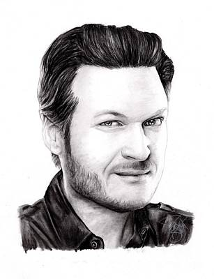 Drawing - Blake Shelton by Rosalinda Markle