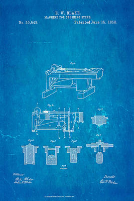 Brickie Photograph - Blake Stone Crushing Patent 1858 Blueprint by Ian Monk