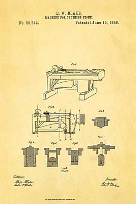Brickie Photograph - Blake Stone Crushing Patent 1858 by Ian Monk