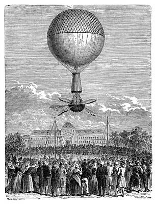 Blanchard's First Balloon Flight Art Print by Science Photo Library