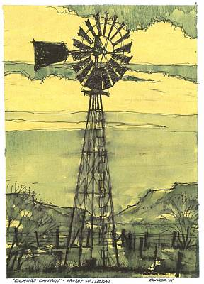 Art Print featuring the mixed media Blanco Canyon Windmill by Tim Oliver