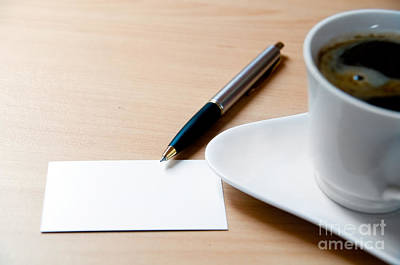 Global Photograph - Blank Card And A Cup Of Coffee by Michal Bednarek