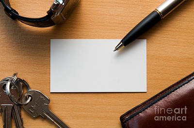 Pen Photograph - Blank Card In Business Workplace by Michal Bednarek