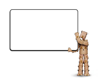 Business Card Photograph - Blank Sign Held By A Box Man by Simon Bratt Photography LRPS