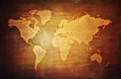 Continent Mixed Media - Blank World Map Vintage by Eti Reid