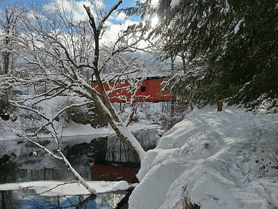 Photograph - Blanket Of White Covers The Slaughterhouse Covered Bridge by Jeff Folger
