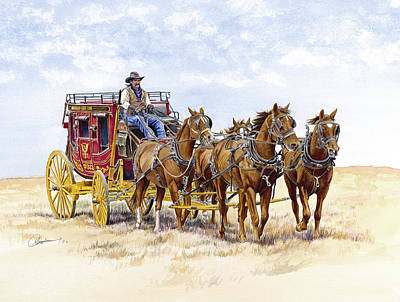 Stagecoach Painting - Blazing A Trail Across The Prairie by Don Dane