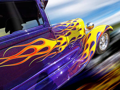 Purple Ford Photograph - Blazing A Trail - Ford Model A 1929 Hot Rod by Gill Billington