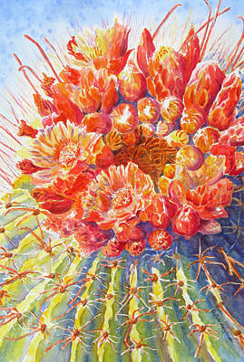 Cactus Flower Watercolor Painting - Blazing Crown Of Glory by Deb  Harclerode