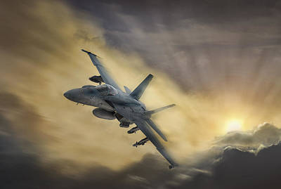 F-18 Digital Art - Blazing Hornet by Peter Chilelli