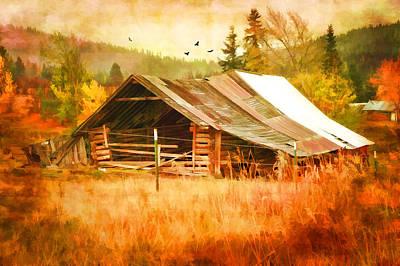 Montana Digital Art - Blazing Ranch by Mary Timman