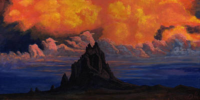 Rust Painting - Blazing Skys Of Shiprock by Timithy L Gordon
