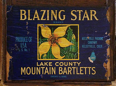 Photograph - Blazing Star Pears Crate Label by Richard Reeve