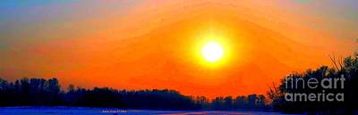 Photograph - Blazing Sunset In Winter by Annie Zeno