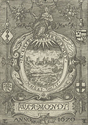 Daisy Drawing - Blazon Of The Chamber Of Rhetoric Red Daisy In Warmond by H. Van Den Berck