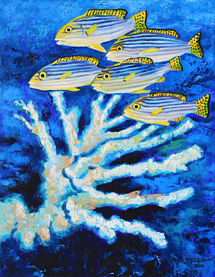 Fish Underwater Painting - Bleached Coral by John Lautermilch