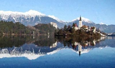 Painting - Bled Slovenia by Samuel Majcen