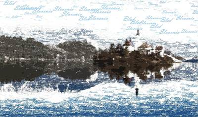 Painting - Bled Slovenia - Typography by Samuel Majcen